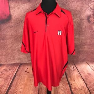 Nike Dri Fit Red Rutgers Polo Shirt 2XL